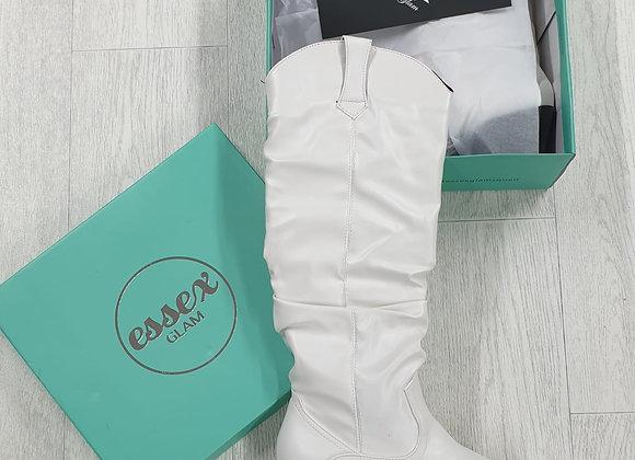 Essex Glam White shin high boots. UK 6/ Euro 39 NWT