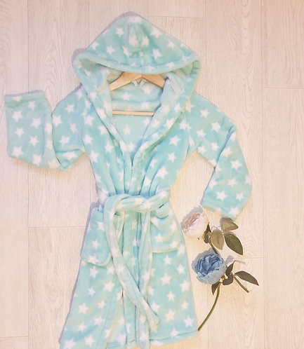 ⭐M&S turquoise star dressing gown. 7-8yrs