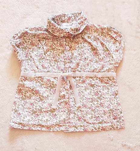 EARLY DAYS Floral blouse with velvet waist band 12-18m KEEP AWAY FROM FIRE