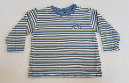 CHEROKEE. Blue striped long sleeve top. Size 12-18 months. Keep away from fire.