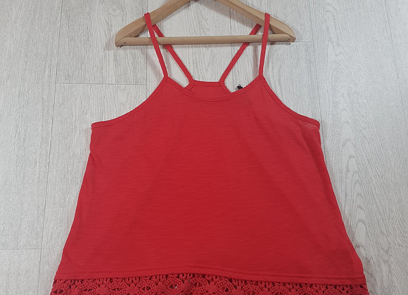 ✴Cotton on red vest top with lace trim size S