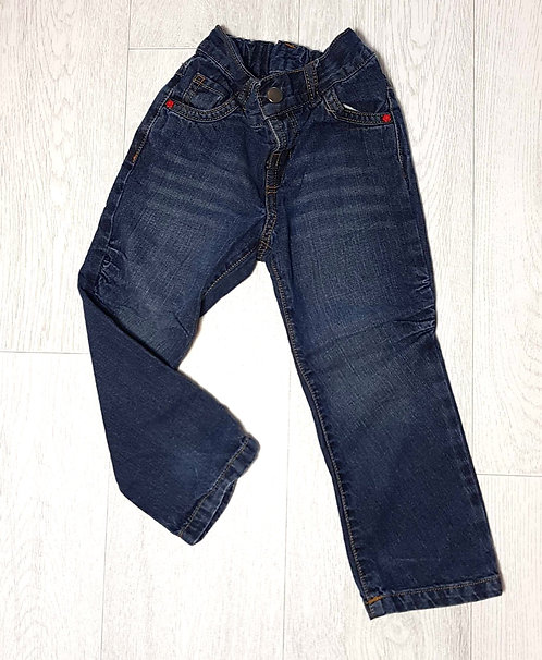 ◾Denim jeans with flower detail and red stitching. 2-3yrs