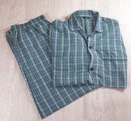 🔵M&S men's green tartan long-sleeve and long bottoms pyjama set size Medium