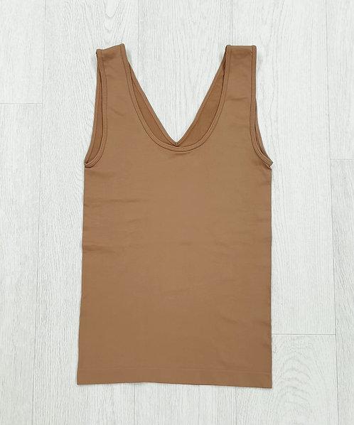 Bodyfit brown vest top. Uk 12-14