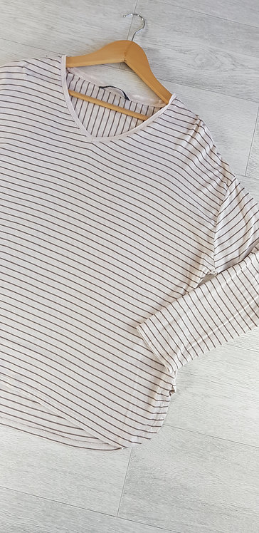 Bonmarche cream long sleeve top with brown stripes. Size 18