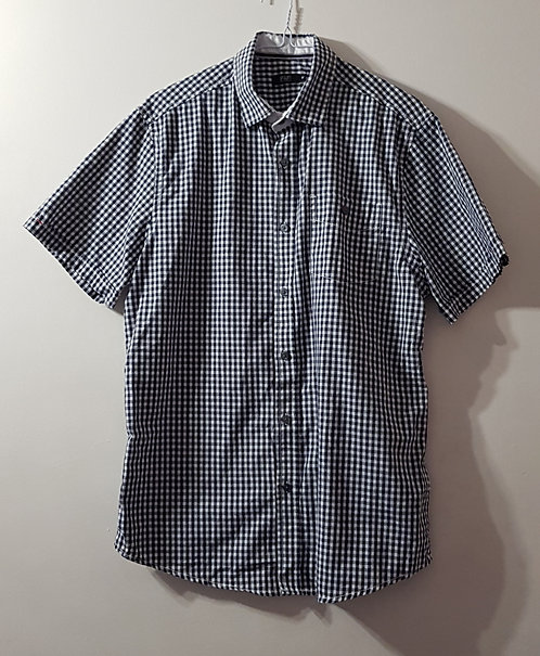 F&F Navy and white gingham shirt. Size M