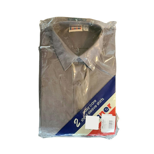 Banner Easy care set of 2 grey short sleeve shirts. NWT