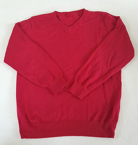 GEORGE. Red v neck long sleeve school jumper. Size 7-8 years.