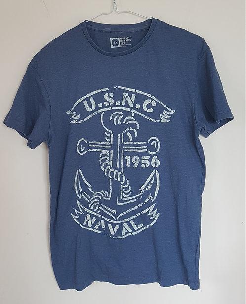 Blue crew neck short sleeve top. Size XS Regular fit.