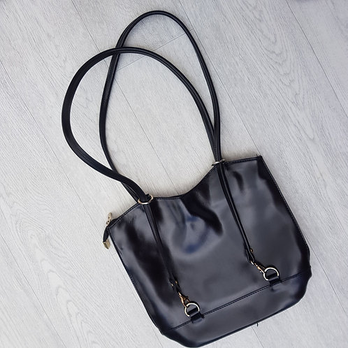 Black double strap handbag