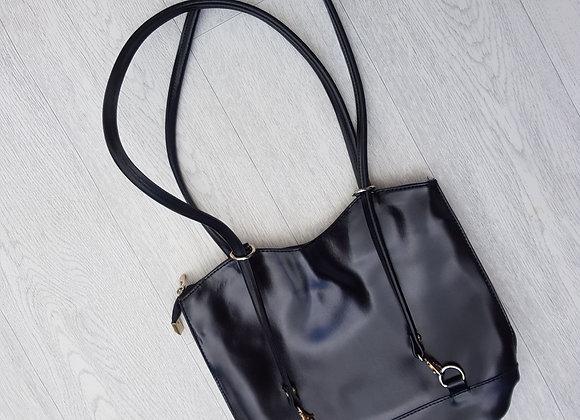 Black double strap handbag