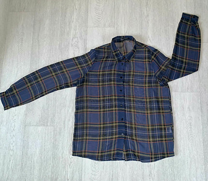 ● Select lightweight blue check blouse. Size 16
