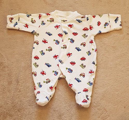 NEXT Babygrow with vehicle print. White. Early baby 5lbs