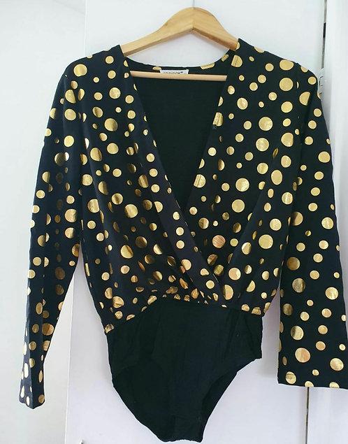 Kooiook black/ gold polkadot bodysuit. Size M