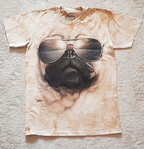 THE MOUNTAIN Pug with glasses t-shirt size S