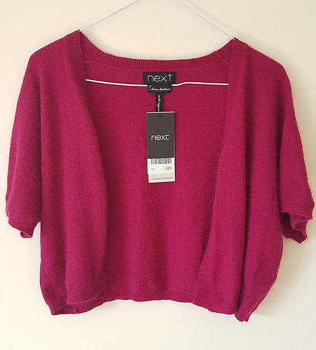 NEXT. Pink wool cropped cardigan. Size 16. New with tags.