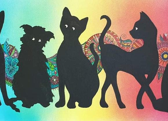 Cats mixed media canvas