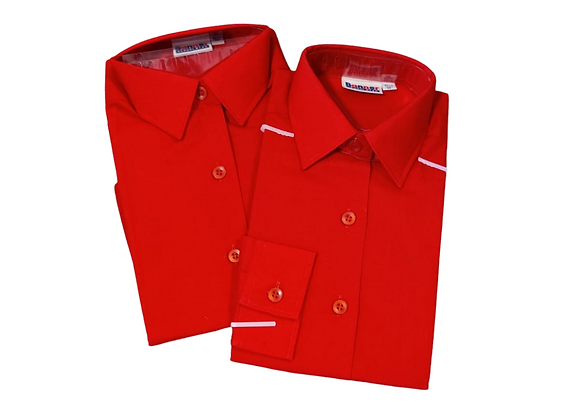 """Banner set of 2 red long-sleeved school blouses. 26"""" NWT"""