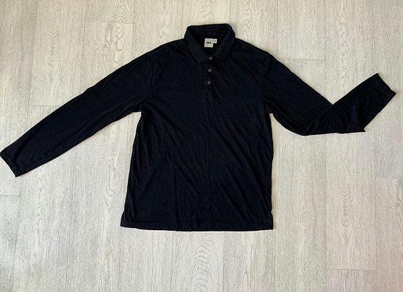 🍃Asos black long sleeve collared top. Size M