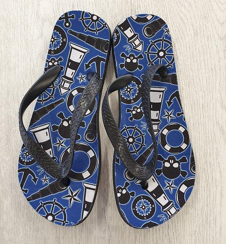 Blue mix flip flops