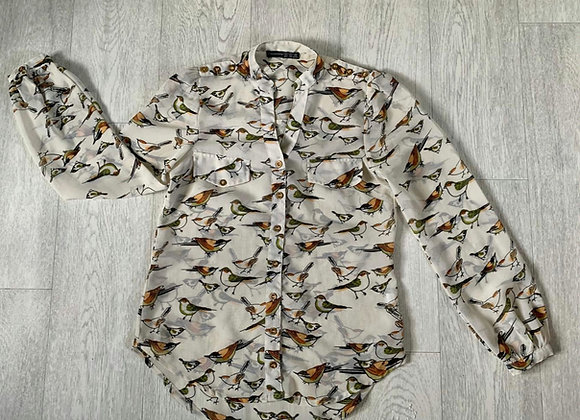 🌻ATMOSPHERE cream bird blouse. Size 6