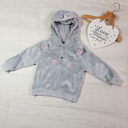 Next grey fluffy mouse hoody. 2-3yrs