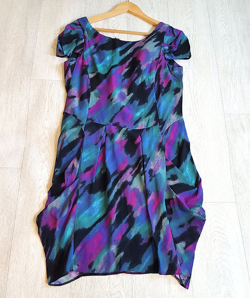 🔴Rise turquoise purple and black dress with ruffled sides and zipped back