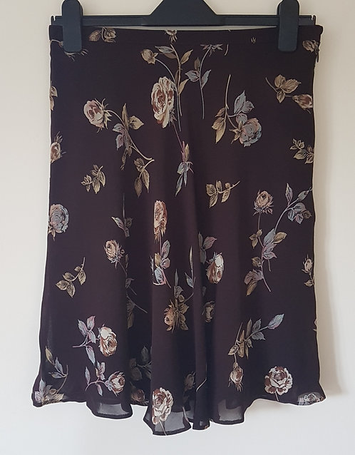 M&S. Brown skirt with zip up side. Size 14.