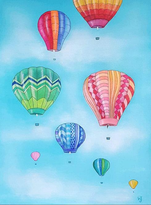 Hot air Balloons mixed media canvas