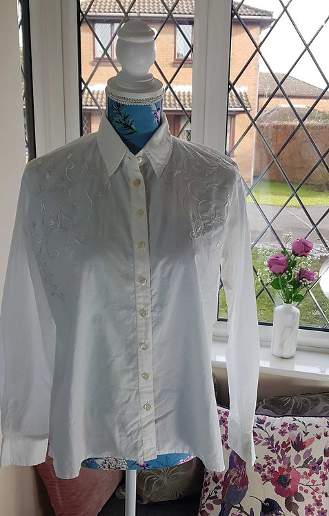 ◾The Shop embroidered white shirt. Size M NWOT