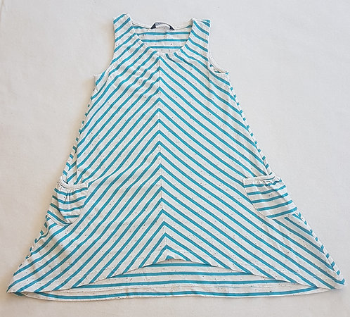 GEORGE. Blue and white striped dress with pockets. 5-6 years.