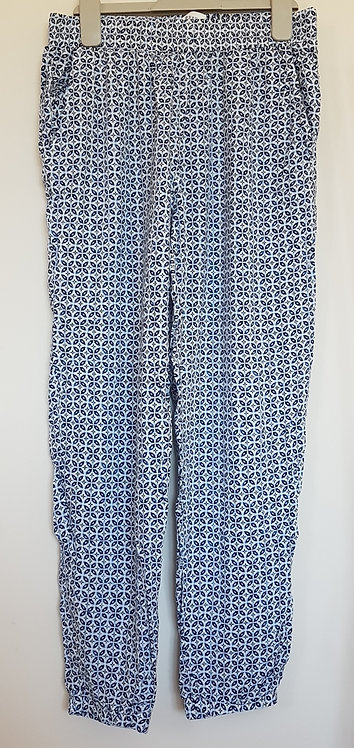 H&M. Blue and white patterned harem pants. Age 13-14yrs.