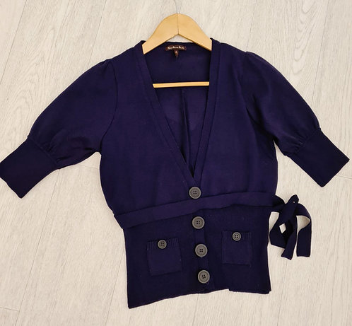 💜River Island purple cardigan with tie belt. Size 8