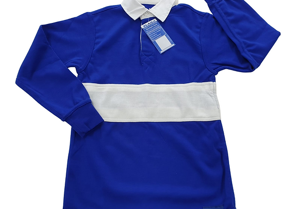 Skoolkit royal blue/white rugby top. NWT