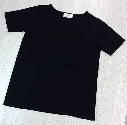 Ann Harvey black top with beaded front. Size 16