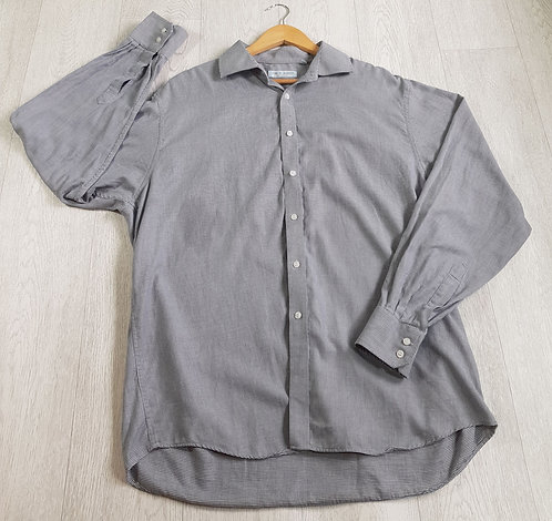 ✴Jack Reid men's wear white and grey long sleeved button down shirt size XL