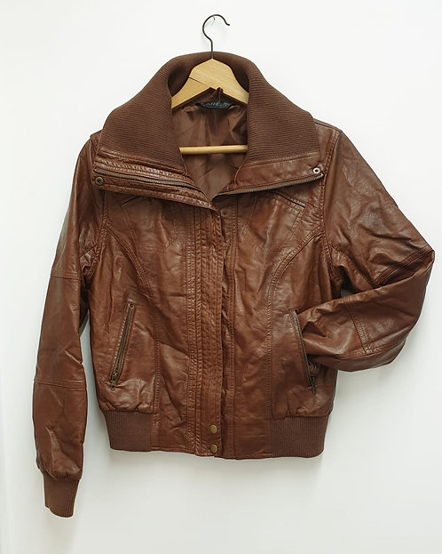🌺Dunnes brown faux leather jacket. Size 16