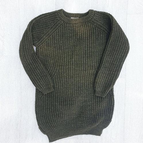 🐦Next khaki thick knit jumper dress. 6yrs