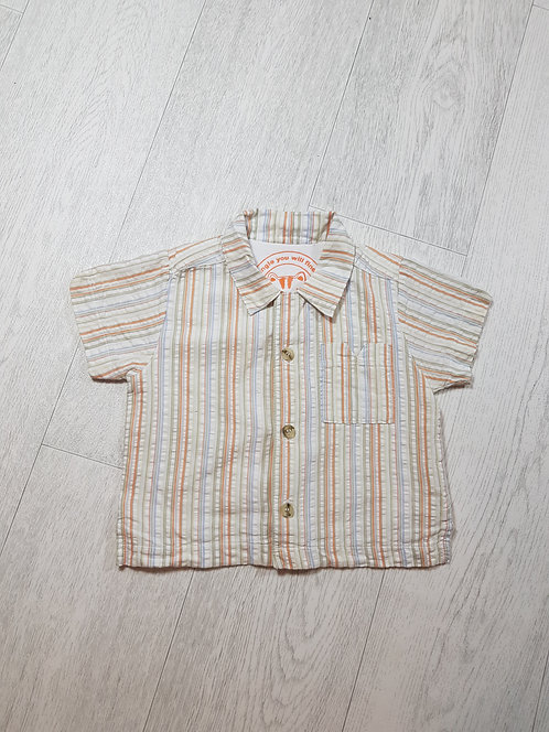 🌈Mothercare boys orange blue and white shirt size 3 / 6 months