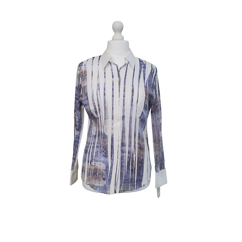 Basler slim line white with purple mix shirt.  Uk 16 NWT