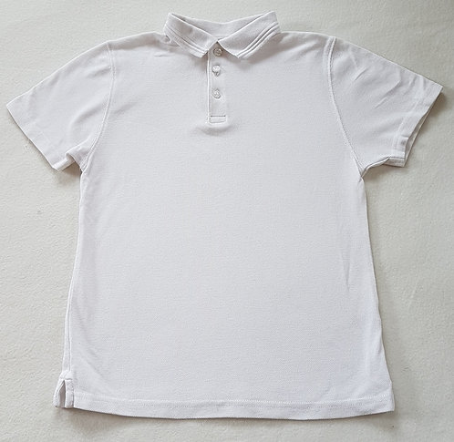 BHS. White school polo shirt. Size 9 years. Keep away from fire.