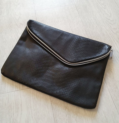Atmosphere Black faux leather clutch bag with zip