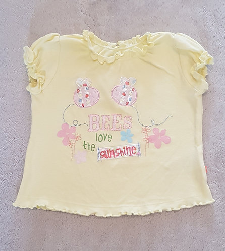 MOTHERCARE Yellow Bee t-shirt 9-12m KEEP AWAY FROM FIRE