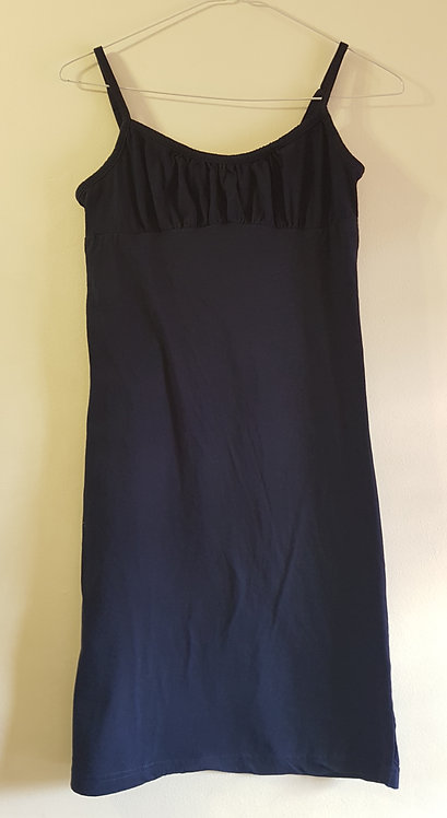 PETITE FLEUR Navy camisole night slip with adjustable straps. 100% cotton Size 8