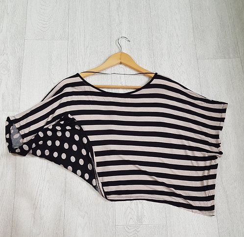 🔵Denim CO spots and stripes crop top
