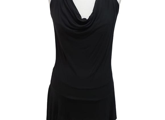 Black tie neck open back long top/mini dress. Uk 10