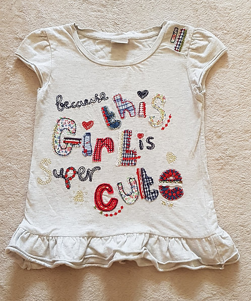 NEXT Grey tshirt with ruffled hem with sequin and diamante detail. 8yrs