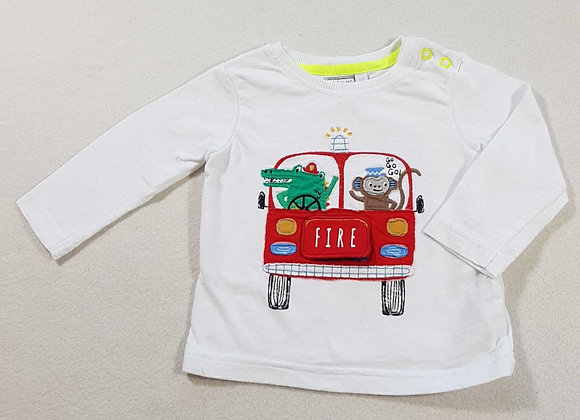 ◾Bluezoo  long sleeved top with lift flap fire engine. 3-6months