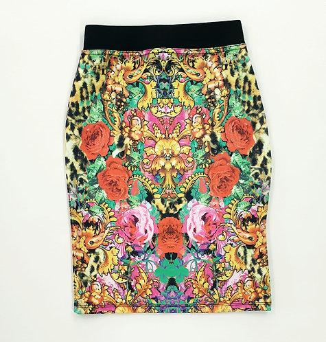 🦚River Island multi coloured pencil skirt. 11-12yrs