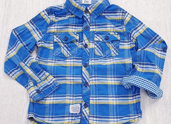 F&F blue check shirt. 3-4yrs